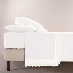 Completo lenzuola cotone percalle bianco e pizzo