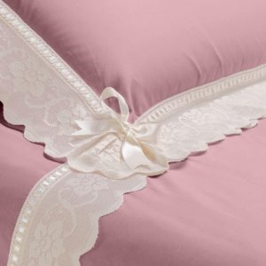 Completo lenzuola cotone pelleovo rosa dust e pizzo