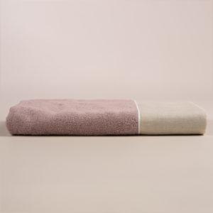 Telo bagno spugna rosa dust con fascia lino sabbia