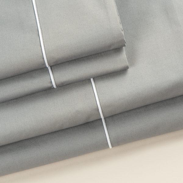 Completo letto London cotone percalle grigio