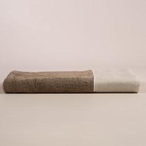 Telo bagno spugna sabbia con fascia lino sabbia