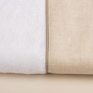 Coppia asciugamani bagno spugna bianca e bordo lino sabbia