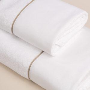 Coppia bagno spugna bianca con fascia lino bianco