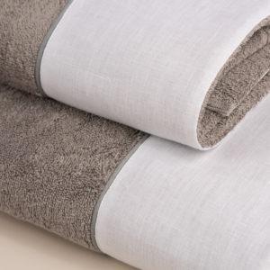 Coppia asciugamani spugna grigia e bordo lino bianco