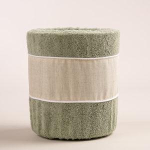 Gettacarta da bagno spugna verde salvia bordo lino sabbia