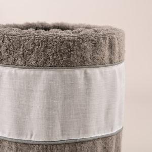 Gettacarta da bagno spugna grigia e bordo lino bianco