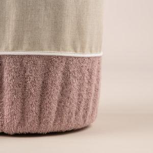 Gettacarta da bagno spugna rosa dust bordo lino sabbia