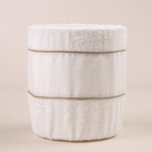 Gettacarta da bagno spugna bianca e bordo lino bianco