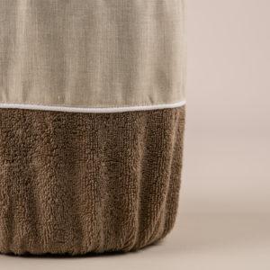 Gettacarta da bagno spugna sabbia e bordo lino sabbia