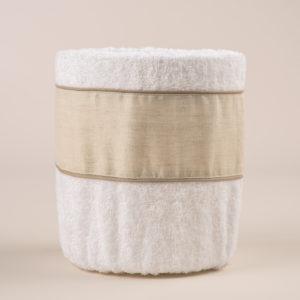 Gettacarta da bagno spugna bianca e bordo lino sabbia