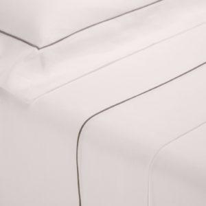 Completo letto London bianco cotone percalle con profilo grigio