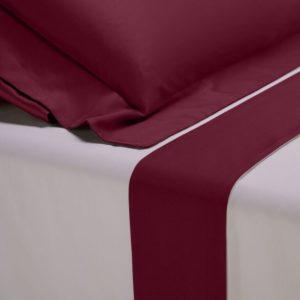 Completo lenzuola percalle colore bianco e bordo in raso di cotone bordeaux