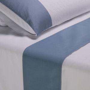 Parure lenzuola cotone pelleovo bordo raso di cotone avio