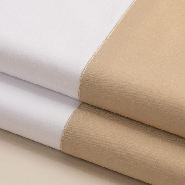 Parure lenzuola cotone pelleovo bordo raso di cotone sabbia