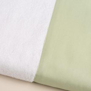 Coppia spugna bianca con fascia raso verde salvia