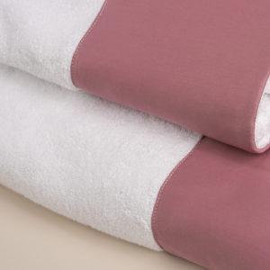 Coppia spugna bianca con fascia raso rosa dust