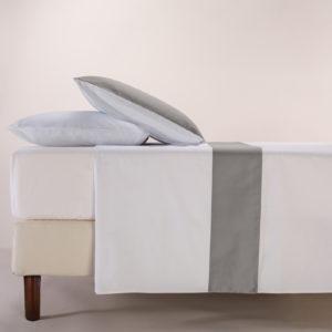 Parure lenzuola cotone pelleovo bordo raso di cotone grigio