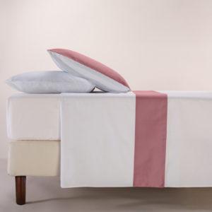 Parure lenzuola cotone pelleovo bordo raso di cotone rosa dust