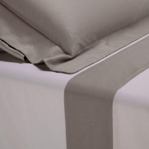 Completo lenzuola percalle colore bianco e bordo in raso di cotone grigio