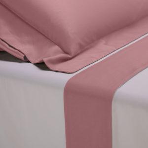 Completo lenzuola percalle colore bianco e bordo in raso di cotone rosa dust