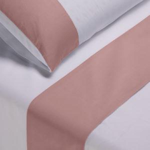 Parure lenzuola cotone pelleovo bordo raso di cotone rosa cipria