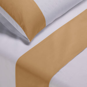 Parure lenzuola cotone pelleovo bordo raso di cotone giallo oro