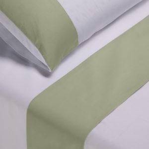 Parure lenzuola cotone pelleovo bordo raso di cotone verde salvia