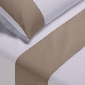 Parure lenzuola cotone pelleovo bordo raso di cotone tortora