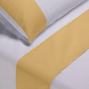 Parure lenzuola cotone pelleovo bordo raso di cotone giallo