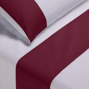 Parure lenzuola cotone pelleovo bordo raso di cotone bordeaux