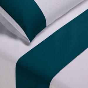 Parure lenzuola cotone pelleovo bordo raso di cotone blu