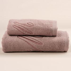 Coppia da bagno spugna rosa dust con cifra ricamata in rosa