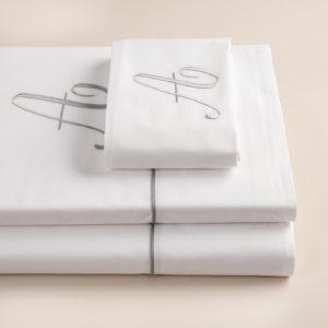 London completo lenzuola percalle bianco con profilo grigio e cifra