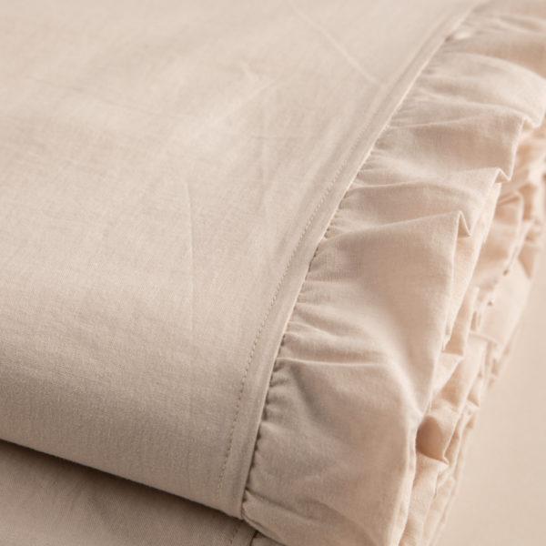 Completo lenzuola morbido cotone sabbia chiaro rifinito con volant su sopra e federe