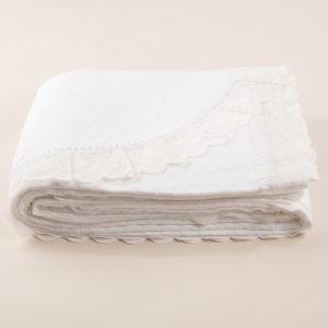 Copriletto cotone piquet bianco con pizzo