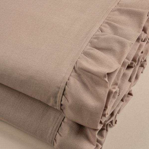 Completo lenzuola morbido cotone sabbia rifinito con volant su sopra e federe