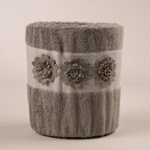 Cestino bagno sfoderabile con applicazioni macramè