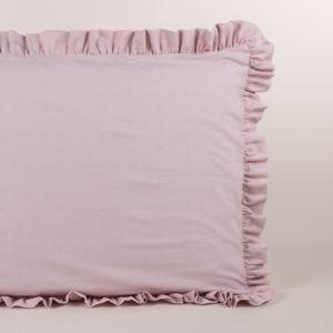 Federa guanciale puro cotone rosa con volant