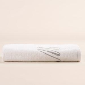 Telo bagno in spugna bianca con ricamo cifra in colore grigio