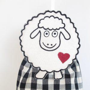 Porta sacchetti sheep quadretto nero