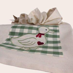 Canavaccio in cotone da cucina con applicazione ricamo papera