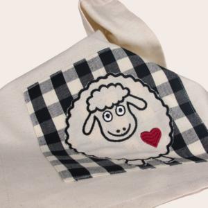 Canavaccio in cotone da cucina con applicazione ricamo pecorella