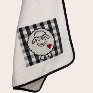 Canavaccio in spugna da cucina con applicazione ricamo pecorella