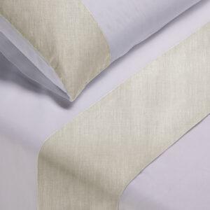 Parure lenzuola pelleovo bianco con bordo lino sabbia melange