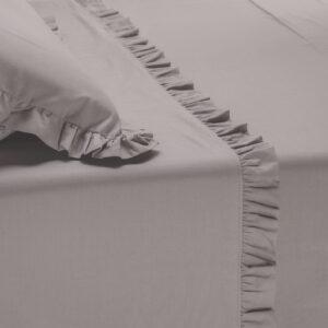 Parure lenzuola cotone effetto lino stropicciato con volant