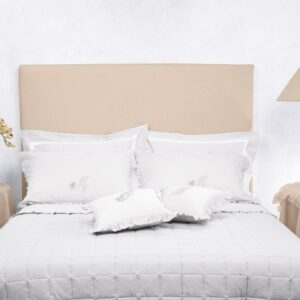 Parure lenzuola effetto lino con cifra ricamata