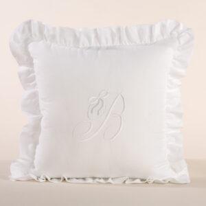 Federa cuscino arredamento con iniziale ricamata