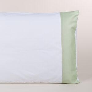 Federa cuscino letto bianca con fascia verde