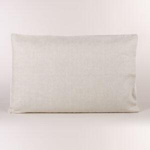 Federa guanciale puro lino sabbia con profilo bianco