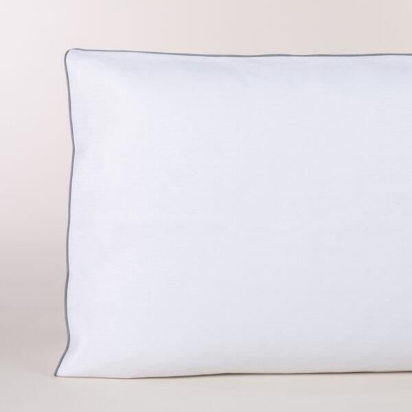 Federa A Sacco In Percalle Bianco Con Profilo Grigio